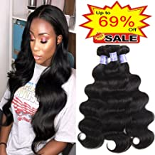 Sayas Hair 10A Grade Brazilian Body Wave Human Hair Bundles Weave Hair Human Bundles Brazilian Virgin Hair For African Americans Women 3 Bundles Total 300g/10.5oz (10 12 14) Inch