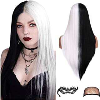 Long Straight Hair Wig Silky Straight Middle Part Synthetic Fiber Wig Party Halloween Cosplay Wig for Women Girls with Nat...
