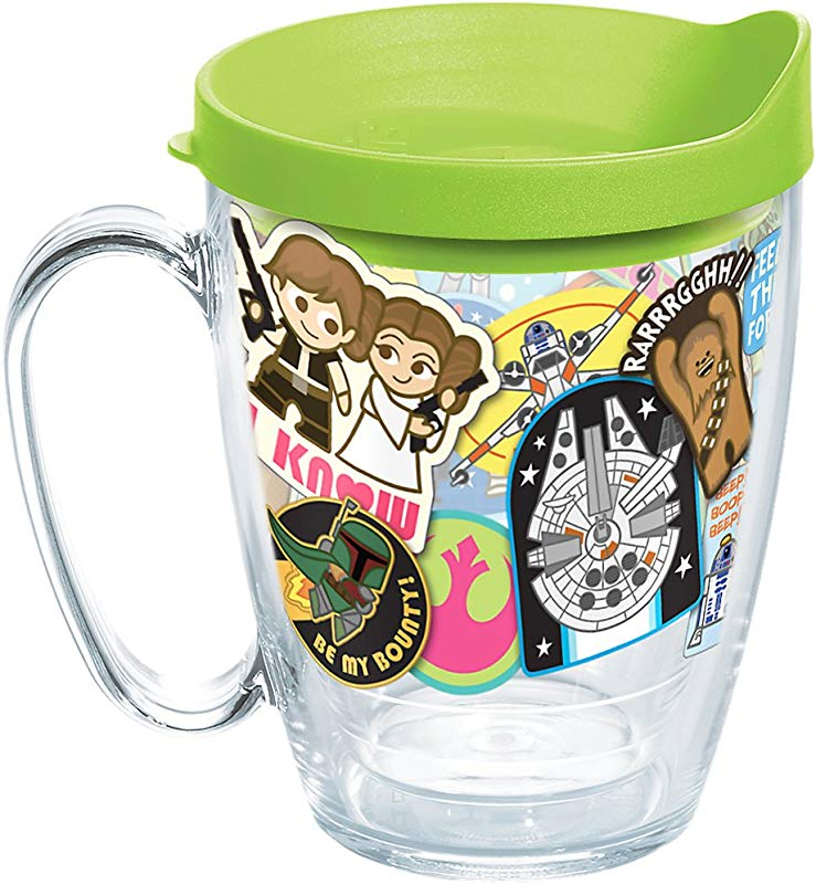 Tervis 1294456 Star Wars Stickers Insulated Tumbler With Wrap And Lime Green Lid 16 Oz Mug Clear