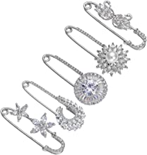 Top Plaza Pack of 5 Women Fashion Rhinstone Crystal Accented Golden Safety Pin Jewelry Brooch Breastpin - Catch Scarf,Lapel or Collar