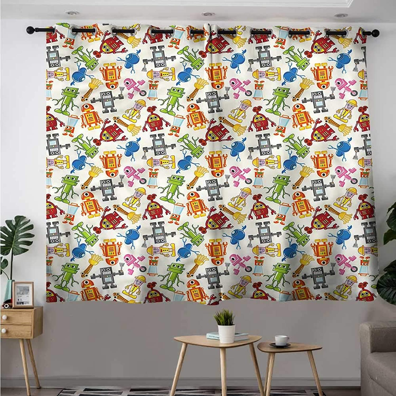 Fbdace Kids Blackout Curtain Boys Cartoon Robot Science Great for Living Rooms & Bedrooms W 55  XL 45