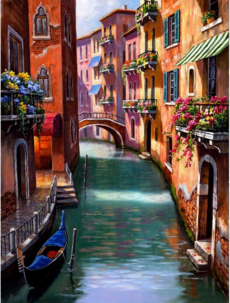 DIY 5D Diamond Painting by Number Kits Crystal Rhinestone Diamond Embroidery Paintings Pictures Arts Craft for Home Wall Decor Venice (12x16inch)