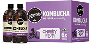 Remedy Raw Organic Kombucha - Sparkling Live Cultured Drink - Sugar Free Cherry Plum - 20 Fl Oz Bottle, 6-Pack