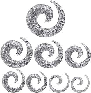 tumundo Dilatatore Spirale Brillante Taper Piercing Orecchio Tappo Tunnel Plugs Glitter Trasparente Set Kit Argento