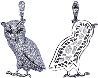 ICE JEWELRY Mens 14K Gold Plated Iced Out CZ Simulated Diamond Owl Pendant Necklace with 24