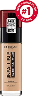 L'Oréal Paris Makeup Infallible up to 24HR Fresh Wear Liquid Longwear Foundation, Lightweight, Breathable, Matte Finish, Medium-Full Coverage, Sweat & Transfer Resistant, Golden Beige, 1 fl. oz.