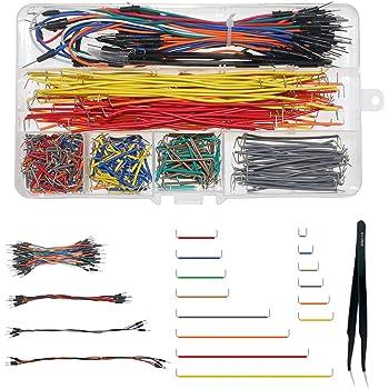 WayinTop Jumper Wire Kit, Preformed Breadboard Jumper Wire 14 Lengths Assorted + Solderless Flexible Breadboard Jumper Wires Male to Male + Tweezer for Breadboard Prototyping