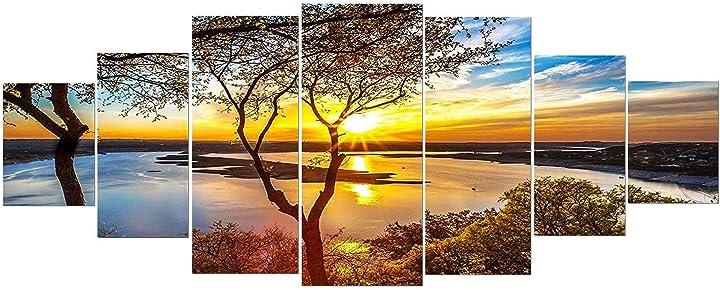 Grande quadro su vetro acrilico - alba sul lago - moderno stampa xxl di 7 parti 90 x 240 cm startonight B08XBPDK3S