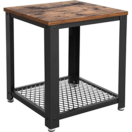 Benjara Metal Frame End Table With Wooden Top Brown And Black Furniture Decor