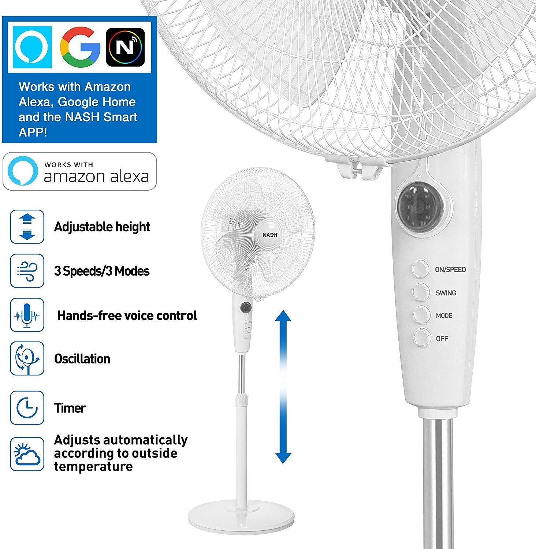 NASH Smart WiFi oscilante Pedestal Stand Fan 16 Pulgadas ...