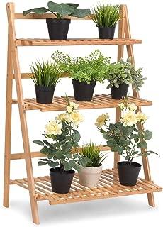Giantex Plant Flower Stand Rack Shelf 3-Tier Bamboo Foldable Pot Racks Planter Organizer Display Shelves, 27.6