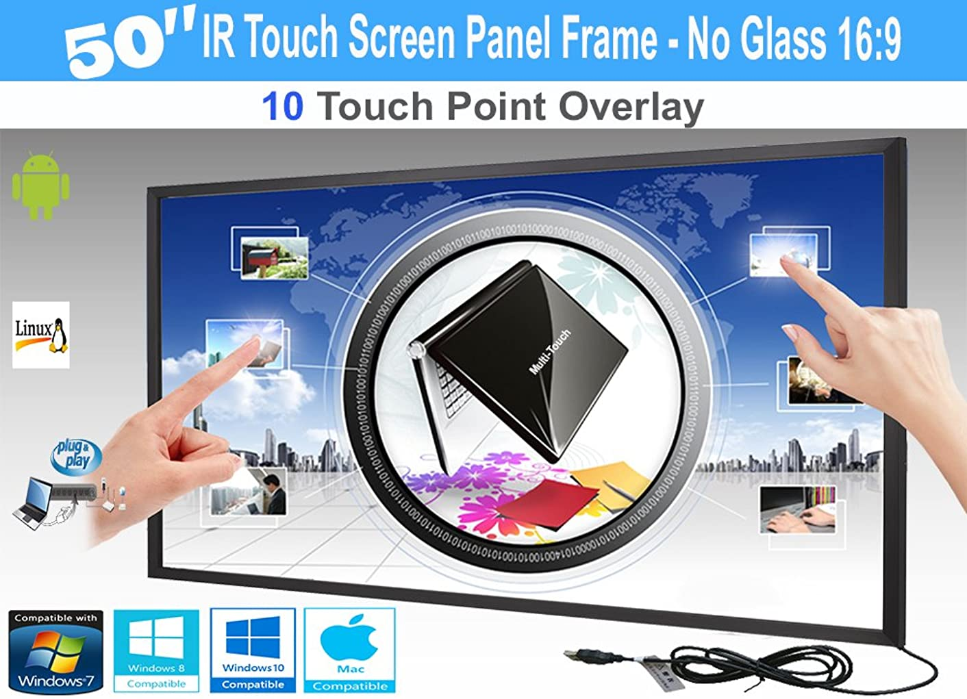 LCD/LED 10 Touch IR Overlay Touch Screen Frame Panel Interactive 50