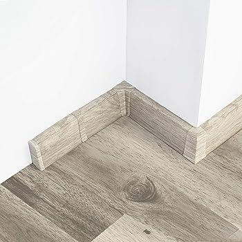 2 Meter Sockelleiste 62mm PVC Eiche grau Laminatleisten Fussleisten aus Kunststoff PVC Laminat Dekore Fu/ßleisten DQ-PP