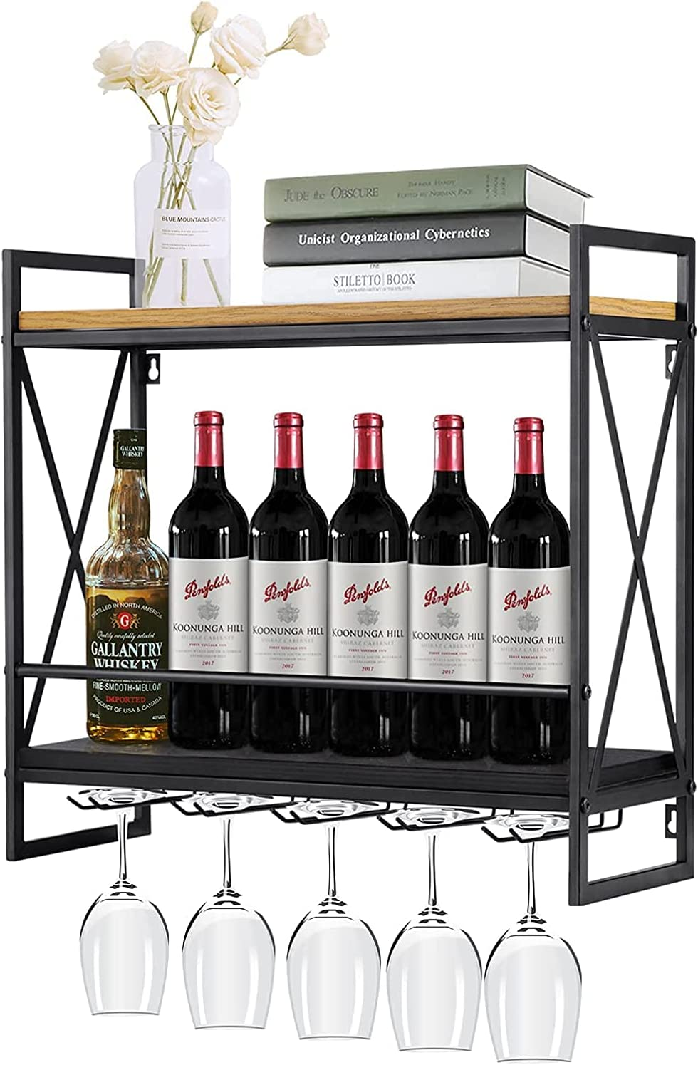 Wall Challenge the lowest price of Japan ☆ Mounted Wine Rack Industrial Holder 2-Tier Glass Win OFFicial