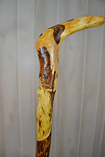 Wood Spirit Cane Carving, Hand Carved Mountain Man Canes Handmade in the USA with Hawthorne Root Cane