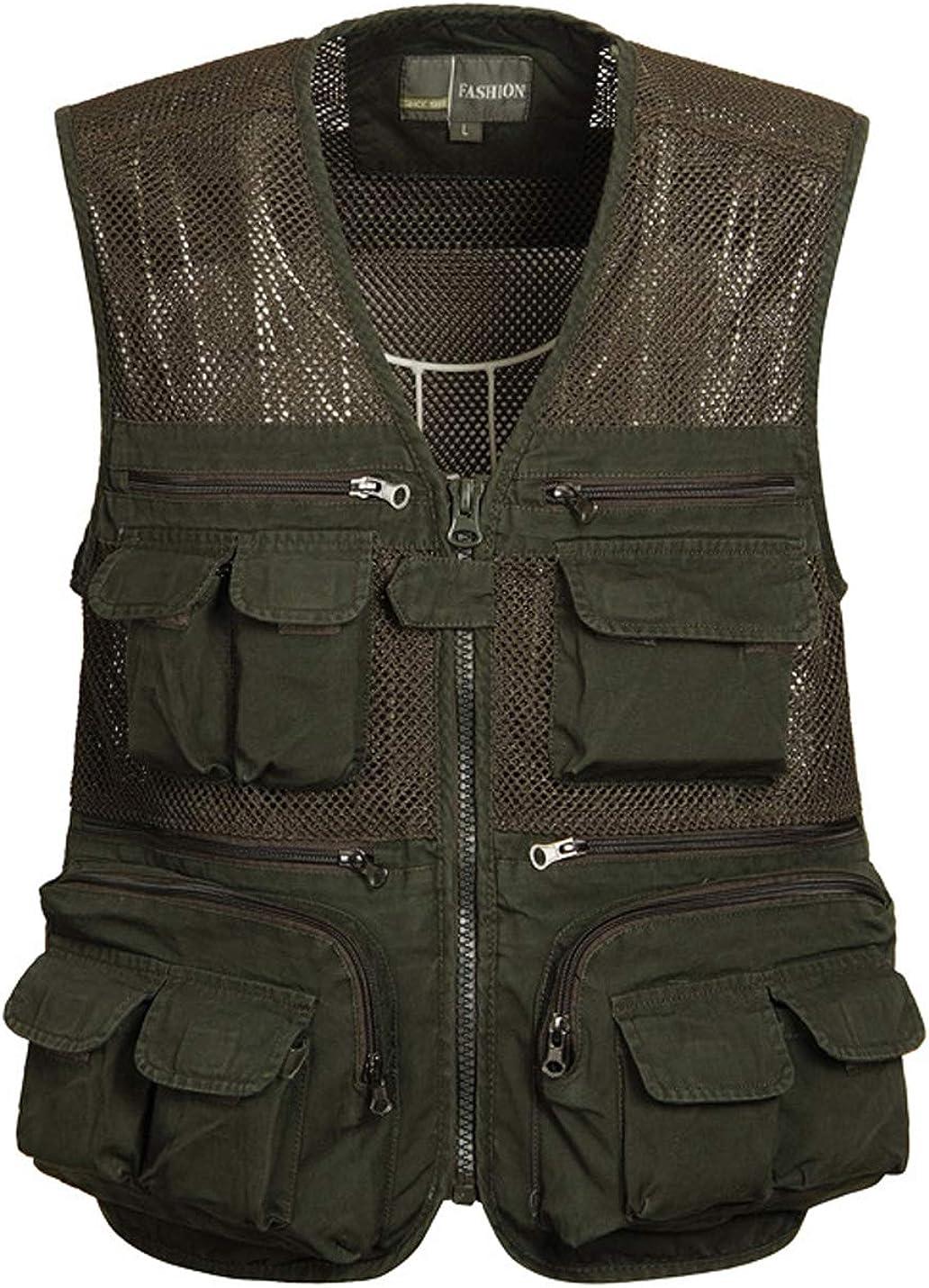 Gihuo Men's Casual Outdoor Multi Pockets Lightweight Fishing Safari Travel Cotton Vest
