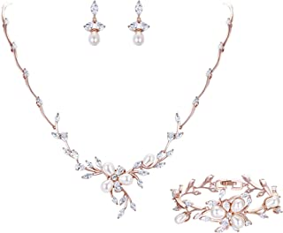 Marquise CZ Simulated Pearl Bridal Flower Leaf Filigree Necklace Earrings Bracelet Set