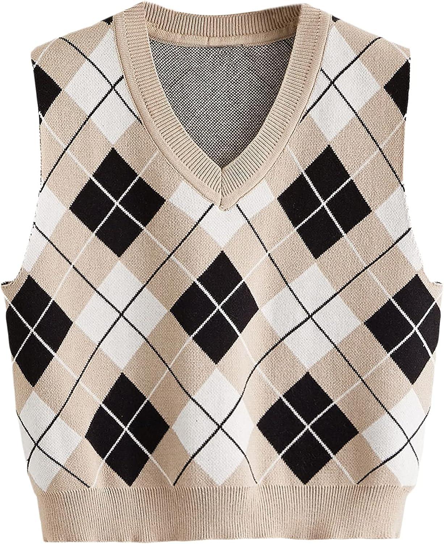 MakeMeChic Women's Preppy Argyle Print V Neck Cable Knit Sweater Vest Sleeveless Crop Top