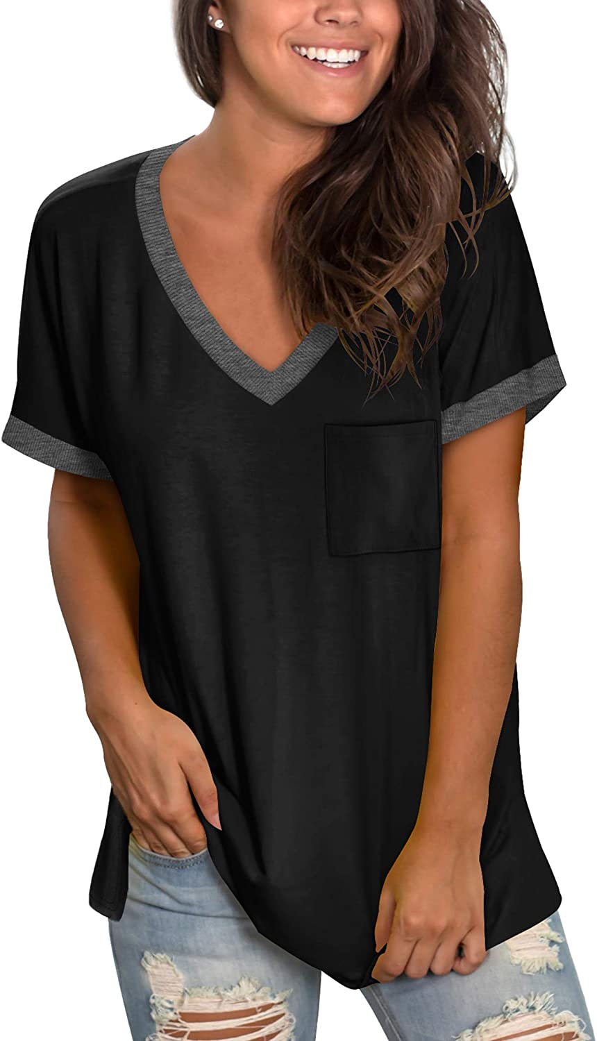 NSQTBA Womens Tshirts V Neck Loose Fit Casual Summer Tops with Pocket: Clothing