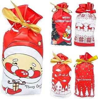 Tomkity 50pz Sacchetti di Caramelle di Natale con Coulisse Borsa di Regalo Biscotti per Bambini Aduilti per Festa Natale C...