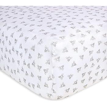 Burt's Bees Baby - Honeybee Print Fitted Crib Sheet, 100% Organic Crib Sheet for Standard Crib and Toddler Mattresses (Heather Grey)