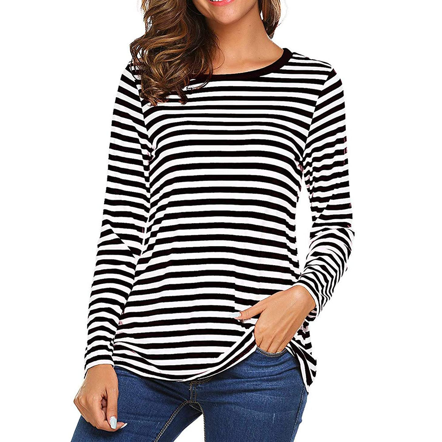LISTHA Long Sleeve Striped Tops for Women Round Neck T-Shirt Casual Blouses Pullover