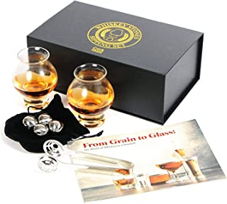 Cork & Mill Whiskey Gift Set with 2 Sipping Glasses, 4 Stainless Steel Chilling Stones, Tongs, Pouch, Gift Box + Whiskey Tasting Guide, An Elegant Gift for any Scotch or Bourbon Whiskey Lover