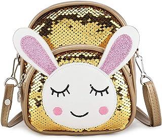 Kids Cartoon Backpack Bling Bling Crossbody Toddler Travel Bag Preschool Shoulder Backpack for Kindergarten Girls Gift (Gold)