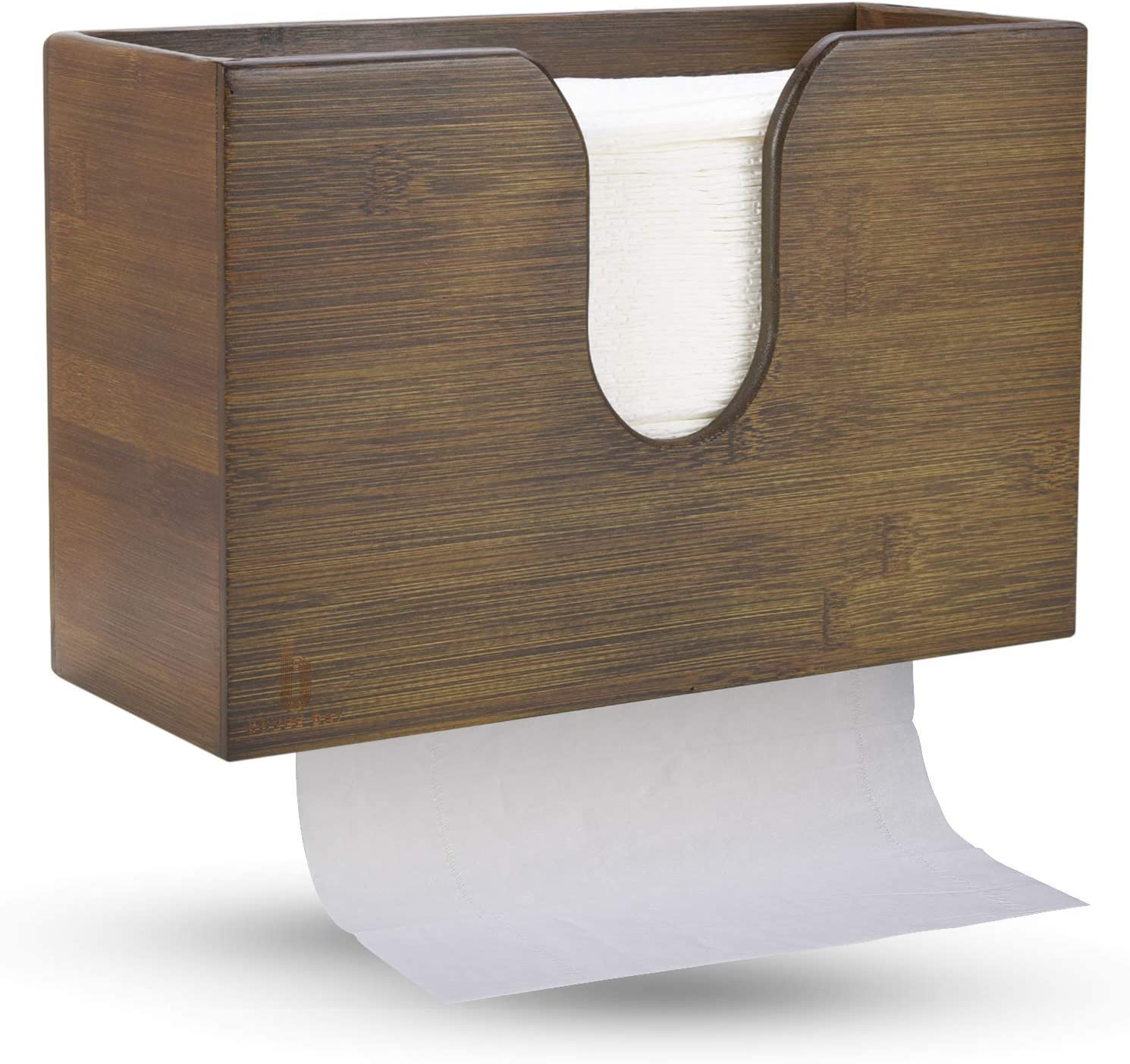 Bamboo Paper Towel Dispenser, Paper Towel Holder for Kitchen Bathroom Toilet of Home and Commercial, Wall Mount or Countertop for Multifold, C Fold, Z fold, Trifold Hand Towels (Vintage Brown)