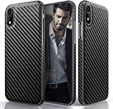 iPhone XR Case, 6.1 inch LOHASIC Carbon Fiber Pattern Slim Luxury PU Leather Soft Flexible Hybrid Anti-Slip Grip Scratch Resistant Protective Cover Cases for Apple iPhone XR (2018) - Carbon Fiber