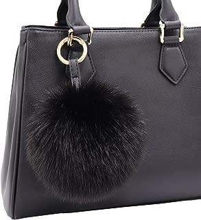 Faux Fur Pom Pom Keychain Purse Bag Charm Fluffy Ball Key Chain for Women