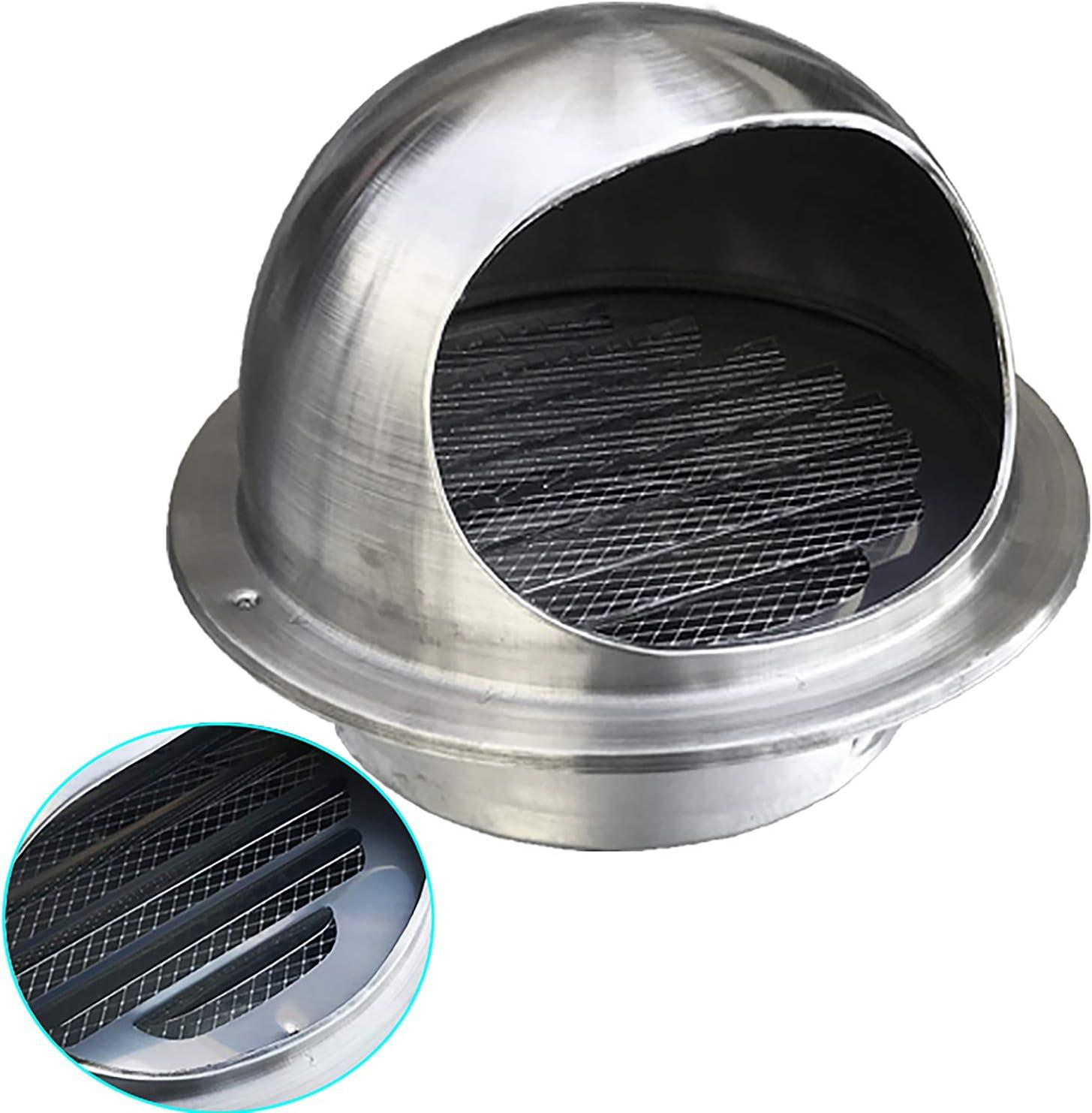 QWEASDF (Ø60-300mm) Acero Inoxidable Rejilla Redonda de ventilación Cubierta de ventilación de Aire ventilación Pared Salida Pared Toro Nariz Extractor Externo Pared para Cocina baño,60mm