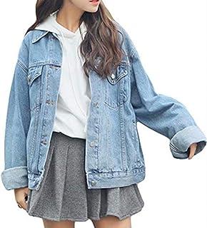 Ankecity Women's Boyfriend Denim Jackets Long Sleeve Loose Jean Coats Oversize