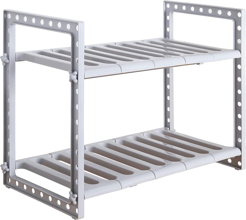SKOLOO Under Sink Expandable Trust Shelf Rack 2-Tier Adjust Max 48% OFF Organizer