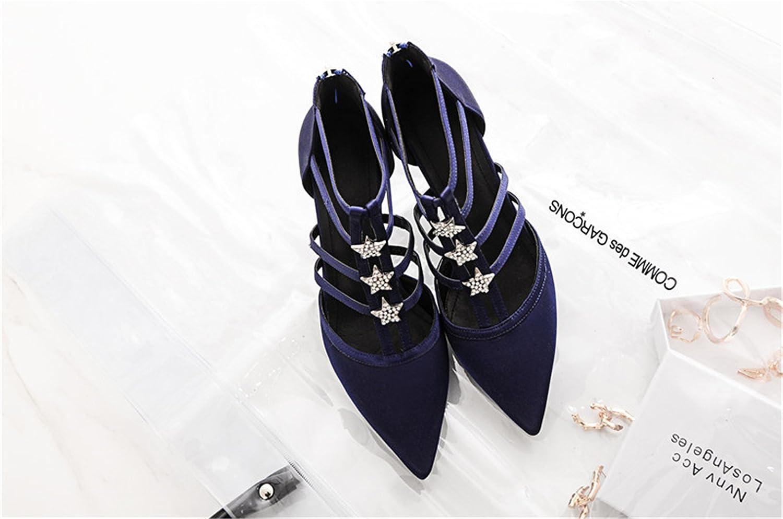 Twinkle UU Women Silk Pumps Sexy High Heels Pointed Toe shoes Woman Rhinestone Wedding shoes
