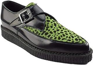 Zapatos de tierra de acero cuero negro lima leopardo pelo enredaderas monje hebilla puntiaguda