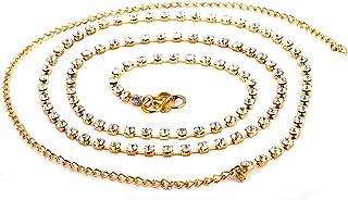 Shining Diva Austrian Diamonds Waist Belt Waist Chain Kamarband for Women(Silver)(1518kb)