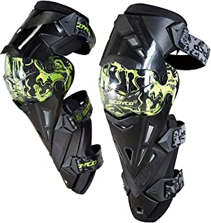 CRAZY AL'S® CAK12(PRO) Motorcycle Knee and Shin Protector ATV Motocross Knee Pads High Quality Sports Scooter Motor-Racing Guard Safety Knee Pads Black Green Yellow White (Green)