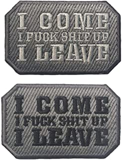 QTao UPA145 Hook & Loop I Come I Fuck Shit Up I Leave Funny Tactical Morale Patches (Bundle 2 Pieces)