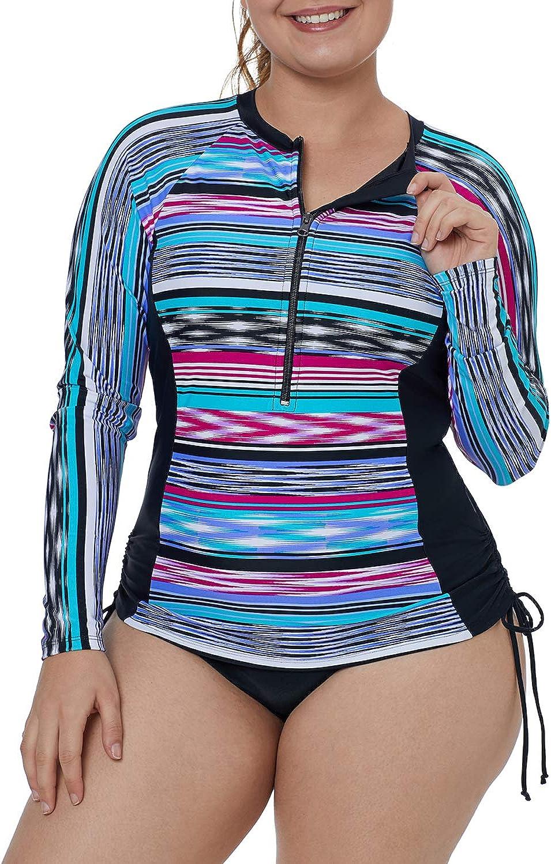 XAKALAKA Women's Plus Size Zip-Front Multicolor Striped Long Sleeve Tankini Rashguard Top S-XXXL