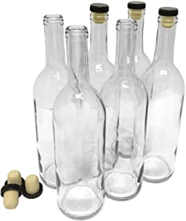 Wine Bottles with Corks, Clear, 750ml - Pack of 6