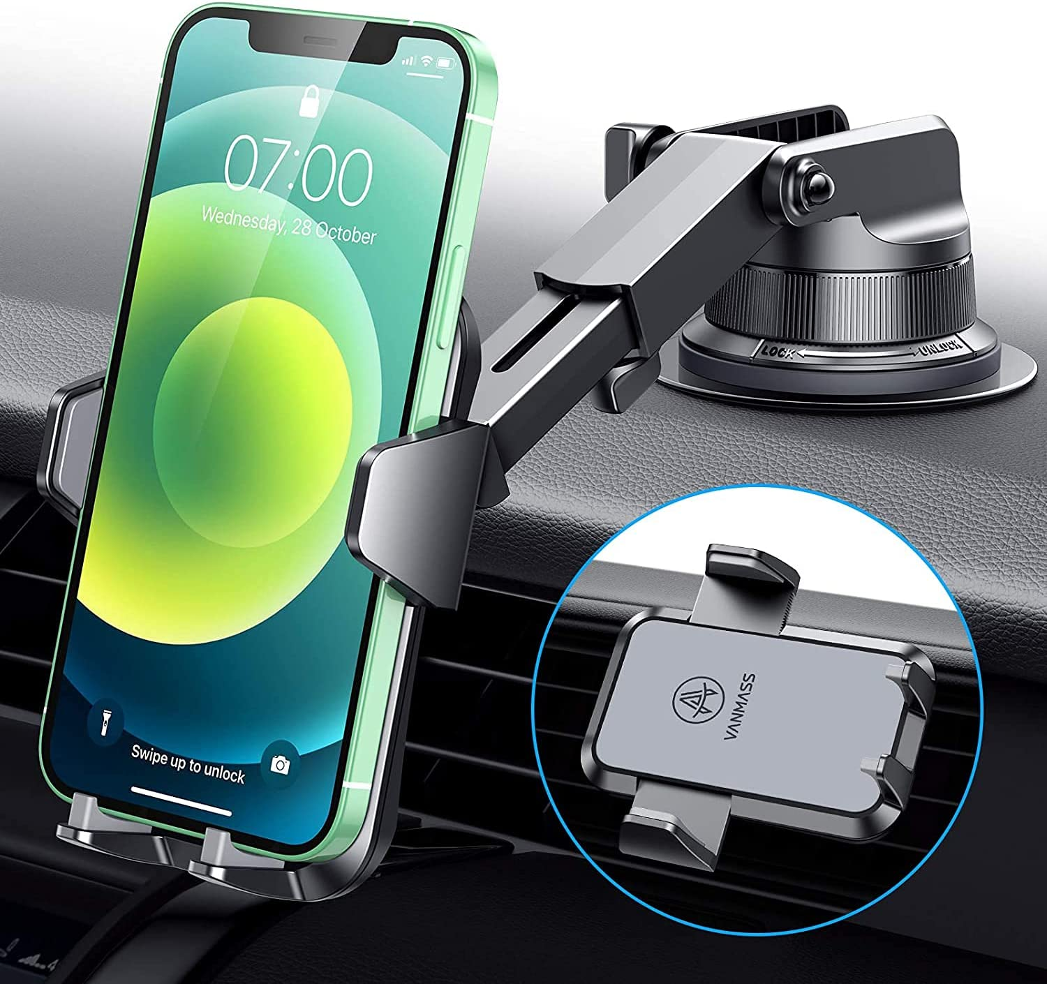 VANMASS Heavy Duty Car Phone Holder Mount【Big & Heavy Phones Friendly】 2021 Cell Phone Holder Car Dashboard Windshield Vent Compatible with iPhone 12 11 Pro SE Xs Max X, Galaxy s20 Note 10 9