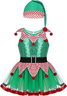 Kids Little Girls Sequin Tutu Christmas Holiday Santa's Helper Costume Xmas Festive Dress Hat Outfits