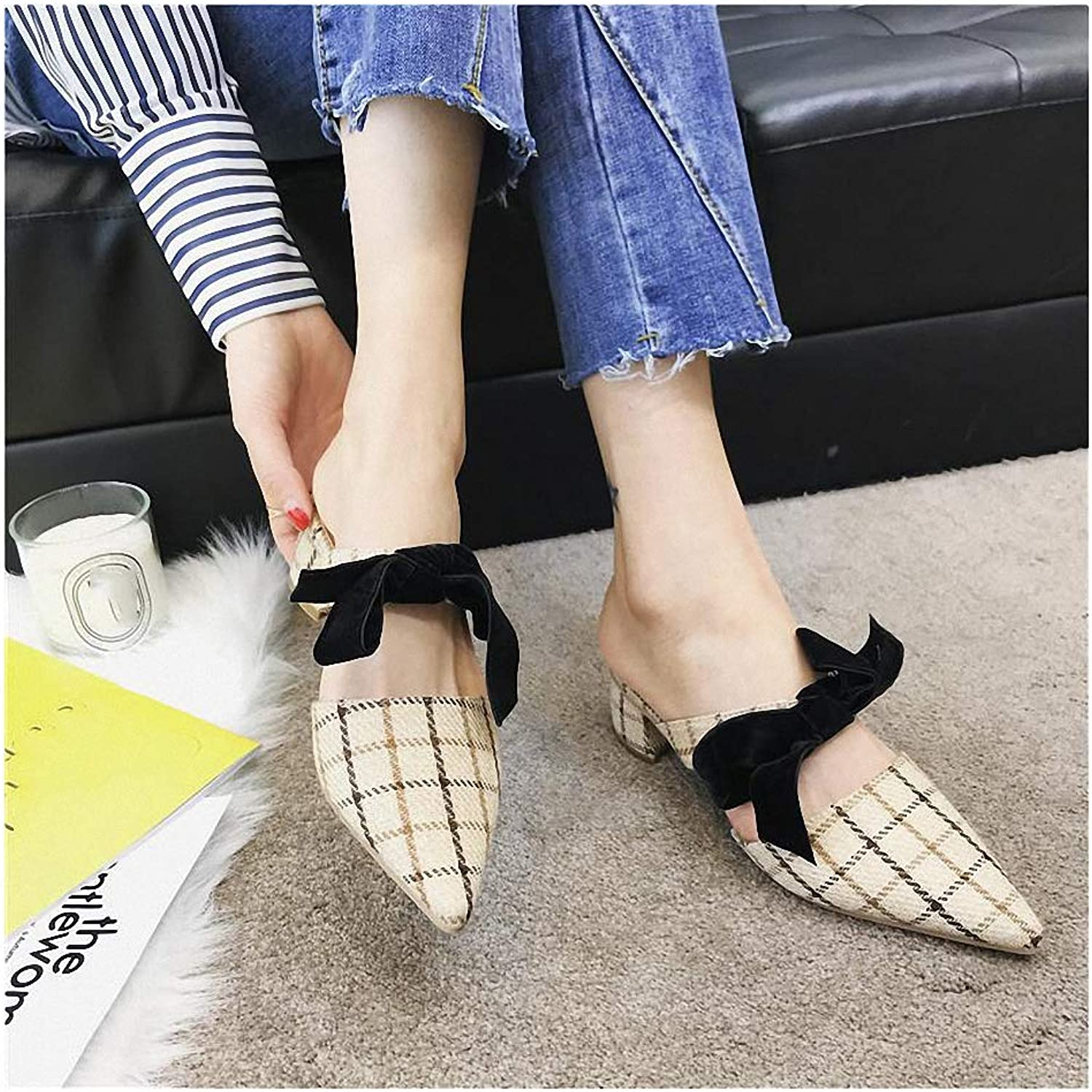 Womens Low-Heeled Sandal shoes New Sandals Female Slippers Female Plaid Cloth Heel shoes Bow Mules and Slippers