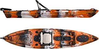 Vibe Kayaks Sea Ghost 130 13 Foot Angler Sit On Top Fishing Kayak (Orange Camo) with Adjustable Hero Comfort Seat