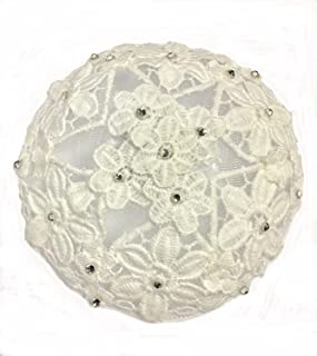 Elegant Dressy Woman`s Lace Kippah in Floral Design