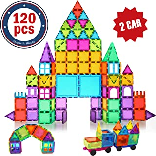 BMAG Magnetic Building Blocks for Kids, 3D Magnetic Building Tiles Set, STEM Preschool Construction Toys Educational Puzzles 120 PCS with 2 Cars