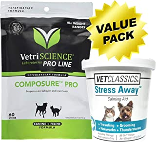 VetriSCIENCE Calming Treats for Dogs & Cats 125 Soft Chew Value Pack Composure Pro Bite Size (60 Chews) Bovine Colostrum for Dogs & Cats with Stress Away (65 Chews) Pet Relaxants & Anxiety Treatment