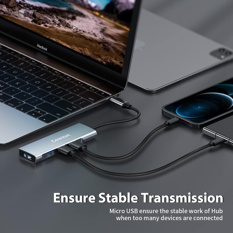 USB Hub 3.0 and USB C Adapter, USB C HUB Compatible for MacBook Pro/Air ipad Pro, Mac Mini, iMac, Surface Pro, XPS, PC,Laptops