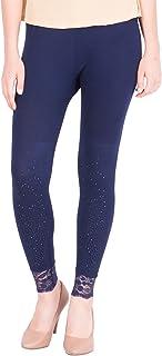 American-Elm Women's Ankle length Cotton Viscose Legging- Dark Blue